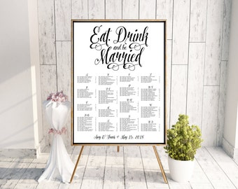 Wedding Seating Chart, Eat Drink and Be Married Seating Chart, Calligraphy Seating Chart, Seating Poster, Rehearsal Dinner Seating Chart