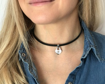 Choker Necklace Personalized Name Choker Cusom Leather Necklace Personalized Initial Necklace Custom Choker With Name For Girls Gift