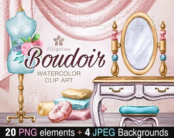 BOUDOIR watercolor Clip Art. Shabby chic room interior, furniture. Princess, Wedding, bridal flowers, chair, mirror, vintage. Read about use