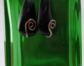 Black Spiral Earrings