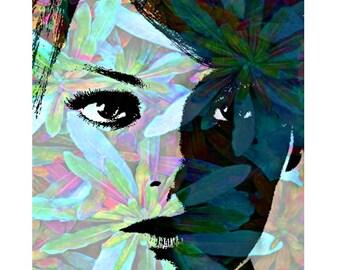 Aqua flower 'Twiggy' abstract, digital print, modern art, photomontage, fine art print, aqua floral abstract, home decor, modern portrait