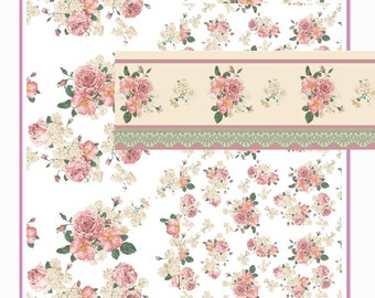 Dollhouse Doll 1:12 Scale Dollhouse Wallpaper Rose Apple Blossom Miniature WALLPAPER