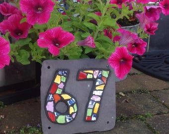 Bright colourful ceramic and mirror Mosaic house number on slate, great for house warming or new home gift