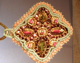 Pretty in Pink & Green Bead Embroidered Pendant  Handmade USA Sequins Bold Statement New