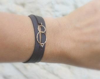 Leather Wrap Bracelet / best friend bracelet / gold and Leather bracelet / Adjastable bracelet / Boho Wrap Bracelet / bridesmaids gifts