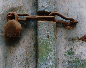 Old Wooden Door Photography. Rusty Door-bolt, Door Lock, Door Wall Decor, Architecture Photography, Fine Art Photography Print, Wall Art
