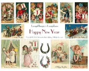 Happy NEW YEAR digital collage sheet, Victorian holidays cards, vintage images winter children girls postcards ephemera altered art DOWNLOAD