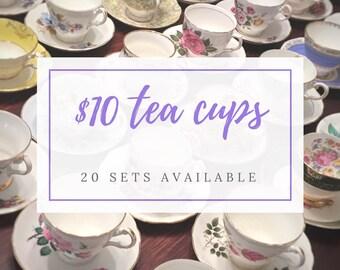 Complete Tea Party Set - Mix and Match Vintage Tea Cups - Mismatched Tea Cups Lot- Bulk Tea Cups- Tea Party-Mismatched Teacups and Saucers