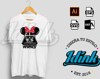 Darth Vader Minnie Mouse Star Wars vector, file for stamping, Minnie Bun, Minnie Disney | Vector file |. ai, SVG, EPS, DXF
