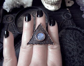 4 Elements Ring Rainbow Moonstone Copper Ring Triangle Ring Geometric