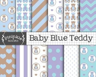 Blue Teddy Bear Digital Paper, New Baby Boy Digital Paper, Blue Digital Scrapbook Paper, Instant Download, Commercial Use