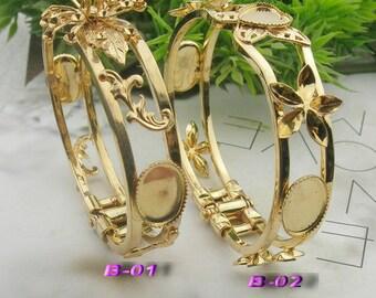 1pcs NEW Gold Plated w/ Filigree Cuff Bracelet, Nickel Free