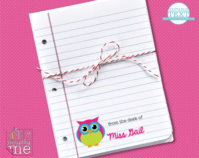 Personalized Owl Teacher Notes Cards - Editable - for Teacher Gifts or Back to School - INSTANT Download DIY Printable PDF Kit
