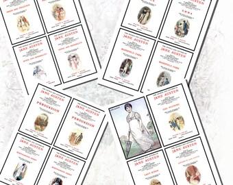 Jane Austen's Title Pages Printables, POSTCARD SIZE, (3.5 x 5 Inch or 12.7 x 8.8 cm)