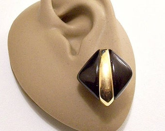 Monet Black Diamond Button Pierced Stud Earrings Gold Tone Vintage Thick Lucite Graduated Center Accent Band Surgical Steel Posts