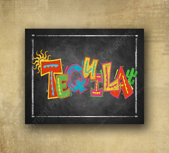 Tequila Chalkboard Fiesta Sign, Printed Party Sign - Fiesta Bar Sign, Fiesta party signage wedding sign, Cindo de Mayo sign, day of dead