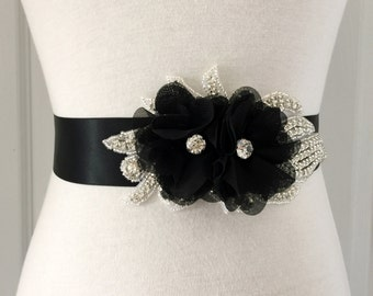Black Bridal Sash-Black Flower Sash-Black Sash-Wedding Sash-Rhinestone Sash-Maternity Sash-Rhinestone Black Chiffon Flowers Sash