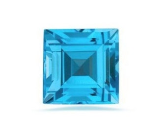 Natural Swiss Blue Topaz AAA Square TOP QUALITY (2x2mm - 7x7mm) Loose Gemstones