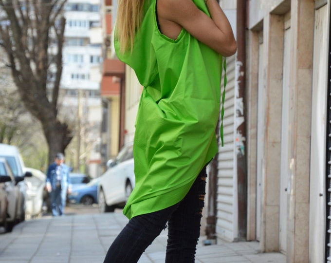 Plus Size Zipper Tunic, Asymmetric Cotton Sleeveless Top, Extravagant Maxi Dress, Maxi Casual Top by SSDfashion