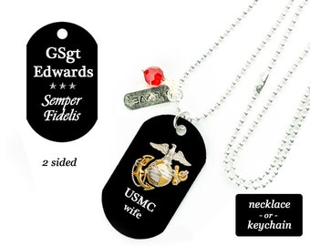 Marine Wife Gift Personalized Dog Tag, USMC Marine Corps Military Necklace or Keychain w/ rank name custom quote saying, Deployment
