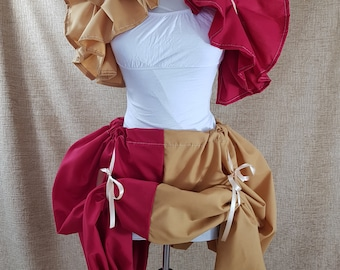 Witch Wizard Half And Half Red And Gold Bustle Skirt-One Size Fits All