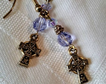 Lavender Swarovski crystal and gold plated pierced earrings with Celtic Cross charms.