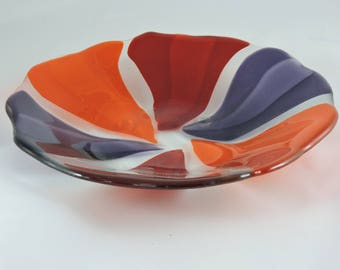 Pinwheel Orange, Red and Purple Bowl, Heavy and Substantial