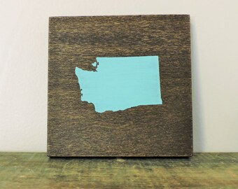 "Any Color, Any State, Custom State Wall Art, Washington, Cougars, Husky, 5""x 5"""