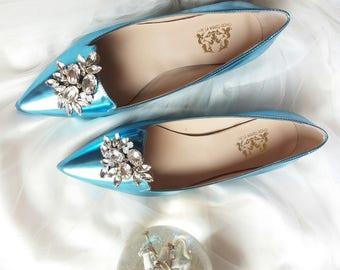 Wedding flat shoes Bridal wedding flat shoes Wedding flats Flats Handmade Ballet flats gift women gift Bridal flats gift blue women shoes
