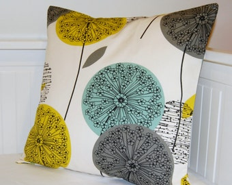 blue teal grey mustard yellow cushion cover, dandelion flower decorative pillow cover 16 / 18 inch