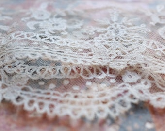 19th C antique Brussels silk lace handmade cream, vintage wedding, costume design, period assembly doll clothing, vintage wedding dress veil