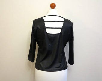 Black Jersey Open Back Top Wet Look Blouse 3/4 Sleeve Shirt Large Size
