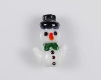 Set of 6 Snowman Beads Lampwork Glass Bead Christmas Winter Snowmen