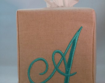 Tissue Box Cover - Custom Made To Order - Monogrammed Essex Natural Linen -  Darling Aurora Font
