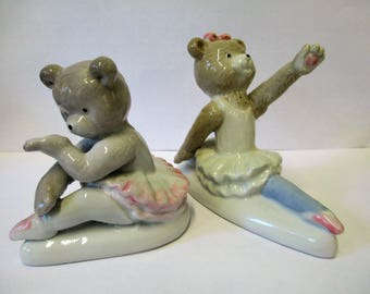 Vintage 2 piece ballerina bears ceramic figurines no markings used
