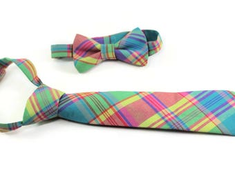 Pink, blue and green plaid necktie for boys. Madras plaid tie for boys. Easter outfit. Ring bearer