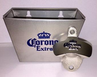 Corona Extra Wall Mounted Bottle Opener & Catcher