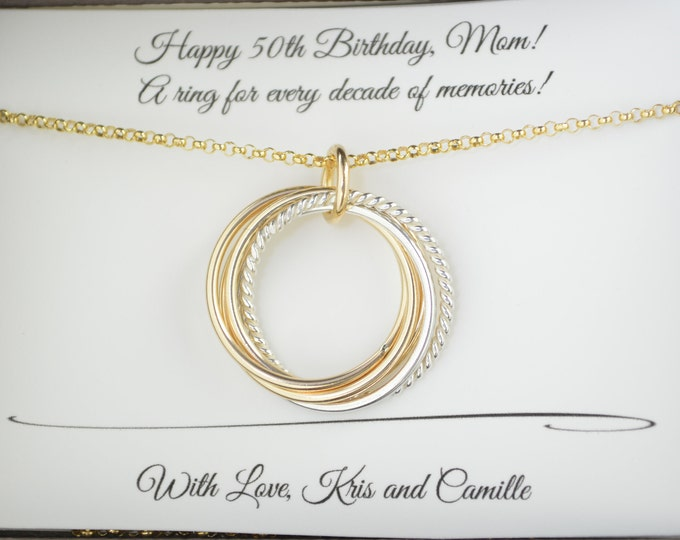 50th Birthday gift for women, 5 Mixed metals necklace, 5th Anniversary gift , 50th Birthday gift for mom, 5 Best friends necklace, 5 Sisters
