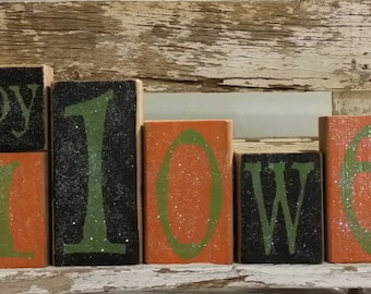 Happy Halloween Blocks Orange & Black Set Of 10 Wood Decoration