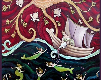 Sailor and Mermaid Folk Art Valentine Love Archival  Print by DEE