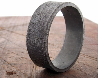 Mans wedding ring, Lunar Rustic Black matt silver 8mm flat band wedding band