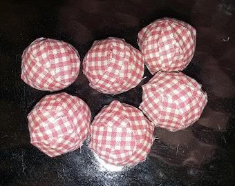 Primitive rag balls counry rag balls red plaid colors