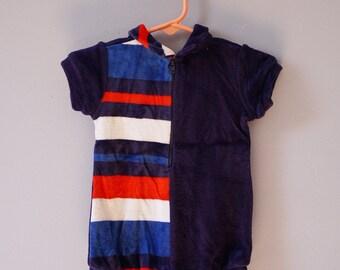 Velour collar baby onesie - asymmetrical stripes - red white blue - 9-12 months