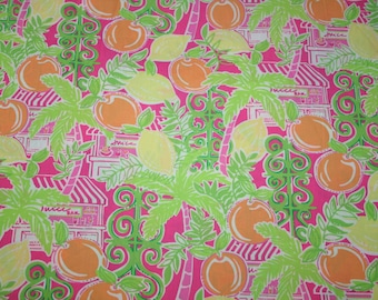 """Lilly Pulitzer fabric ~JUICE BAR~ 2006~Oranges,Palms, Fronds,Beach, Juice Bar~ 18"""" by 18""""~ 100% cotton"""