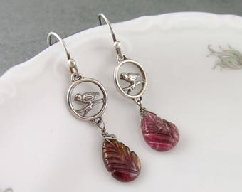 pink tourmaline earrings, handmade sterling silver bird and watermelon tourmaline leaf earrings-OOAK October birthstone