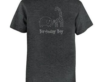 Birthday Shirt Elephant and Giraffe Kids Safari Jungle Birthday Boy Tee - Zoo Animals - Kids Tshirt PolyCotton Blend / Gift Friendly