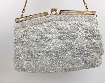 Vintage Beaded Evening Bag, Bridal Purse, Ivory White With Mother Of Pearl Trim, Bridal Evening Bag