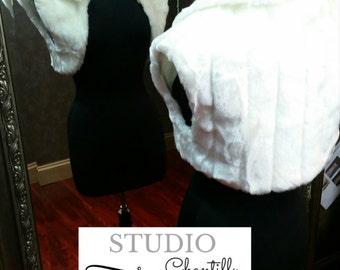 Faux Fur Shrug Winter Wedding Bridal Bolero in Ivory