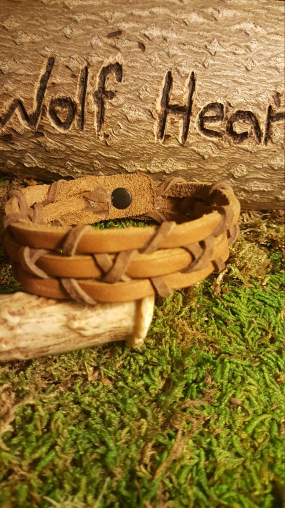 Handmade Leather Bracelet Light Brown With Dark Brown Wrap Weaved Native American Style