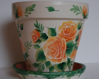 Hand Painted clay flower pot One Stroke peach / orange roses, pink or purple roses . One of a kind gift, made to order.